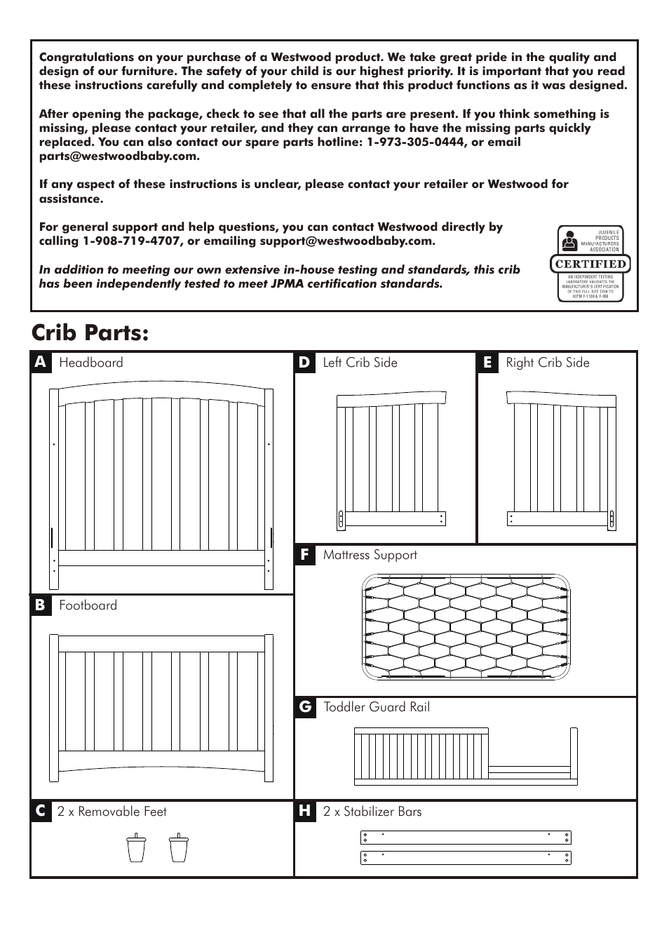 Crib Parts Westwood Design Brookline Convertible User Manual Page 4 13