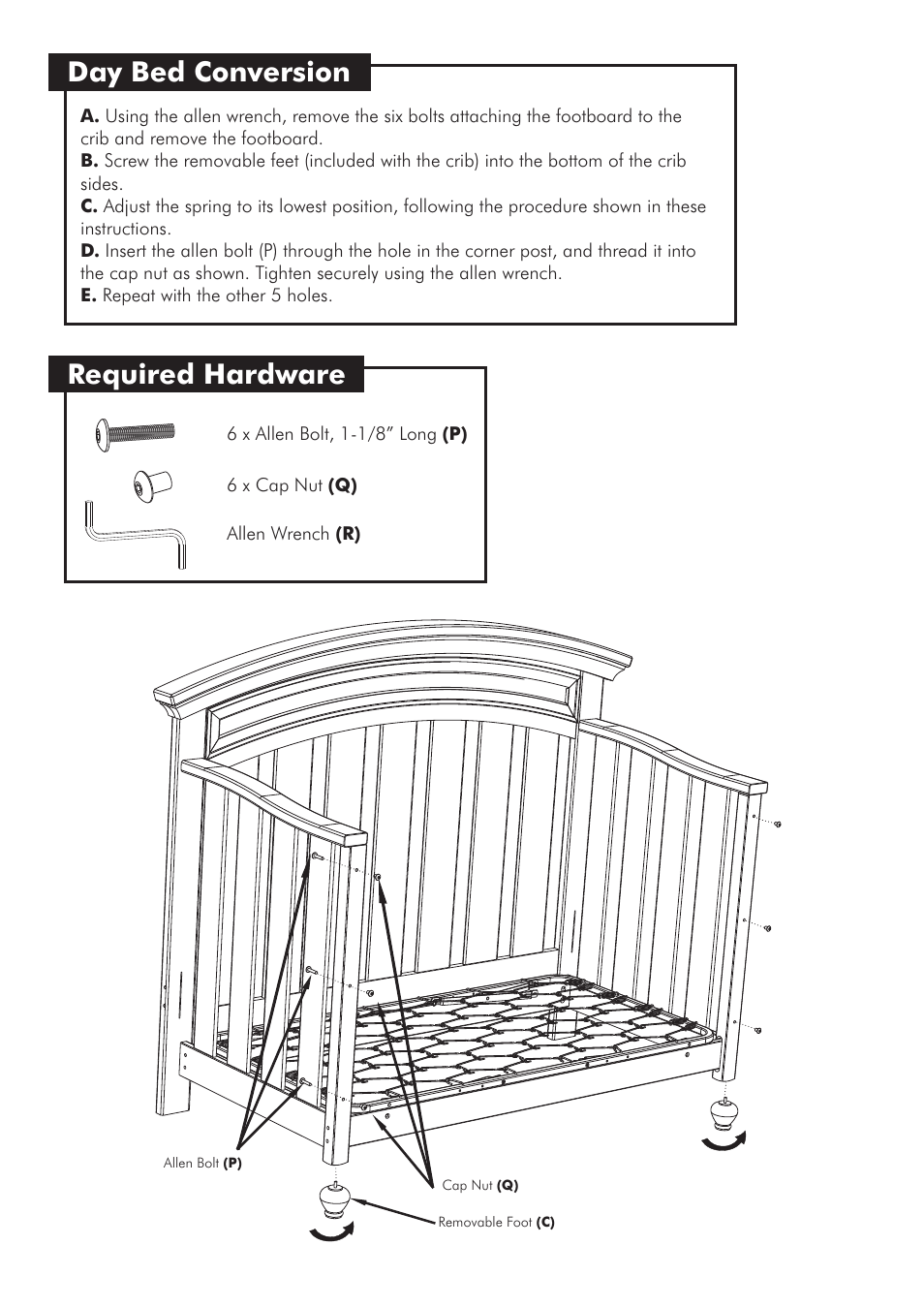 Day Bed Conversion Required Hardware Westwood Design Geneva Convertible Crib User Manual Page 10 11