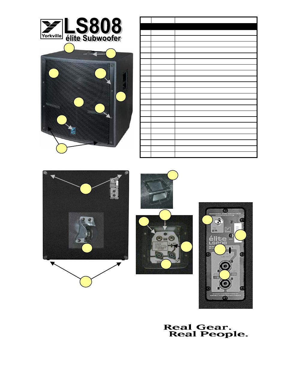 Parts Serv Ls808 1v0 Yorkville Ls2100p User Manual