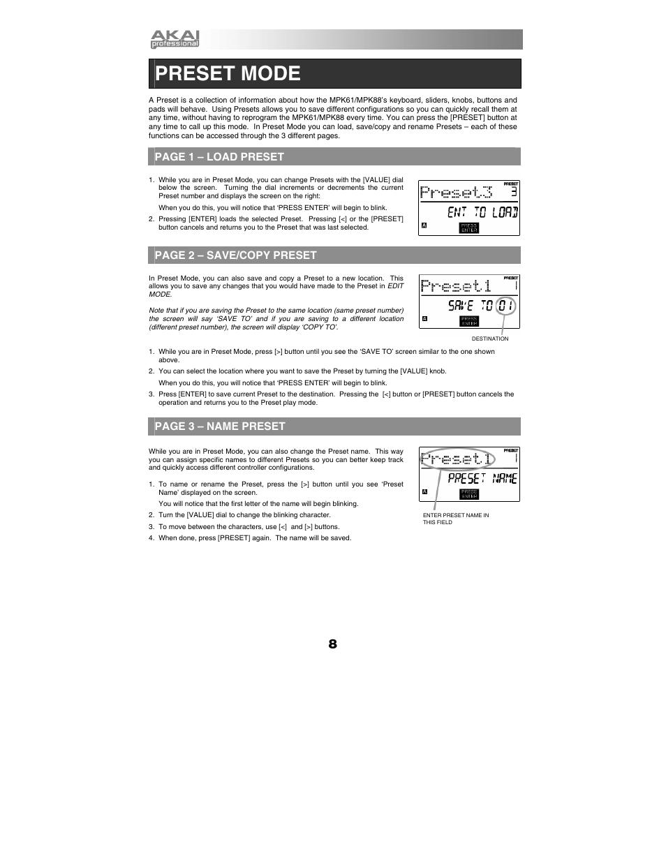 Preset mode, Page 1 – load preset, Page 2 – save/copy preset