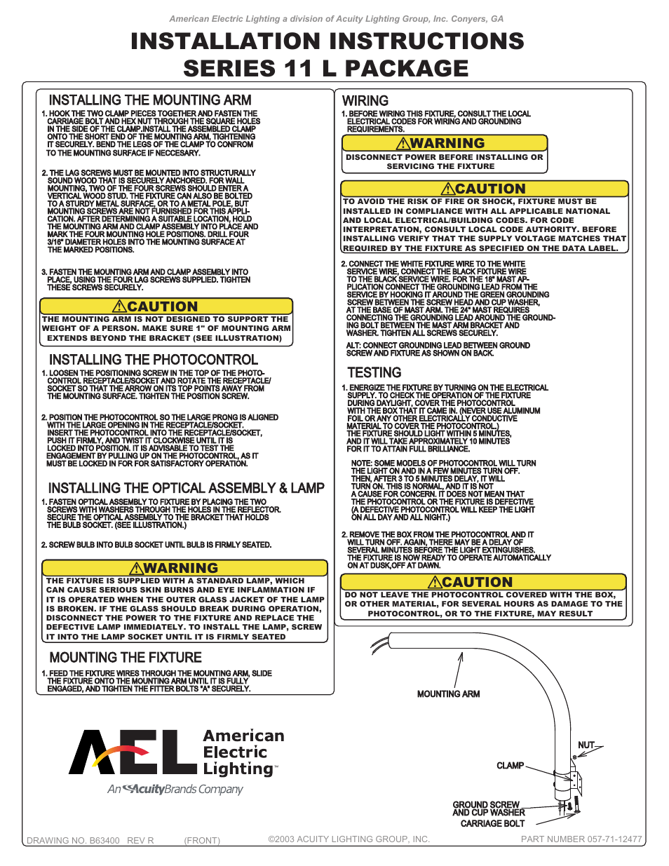 American Electric Lighting Series 11 Package User Manual | 2 pages