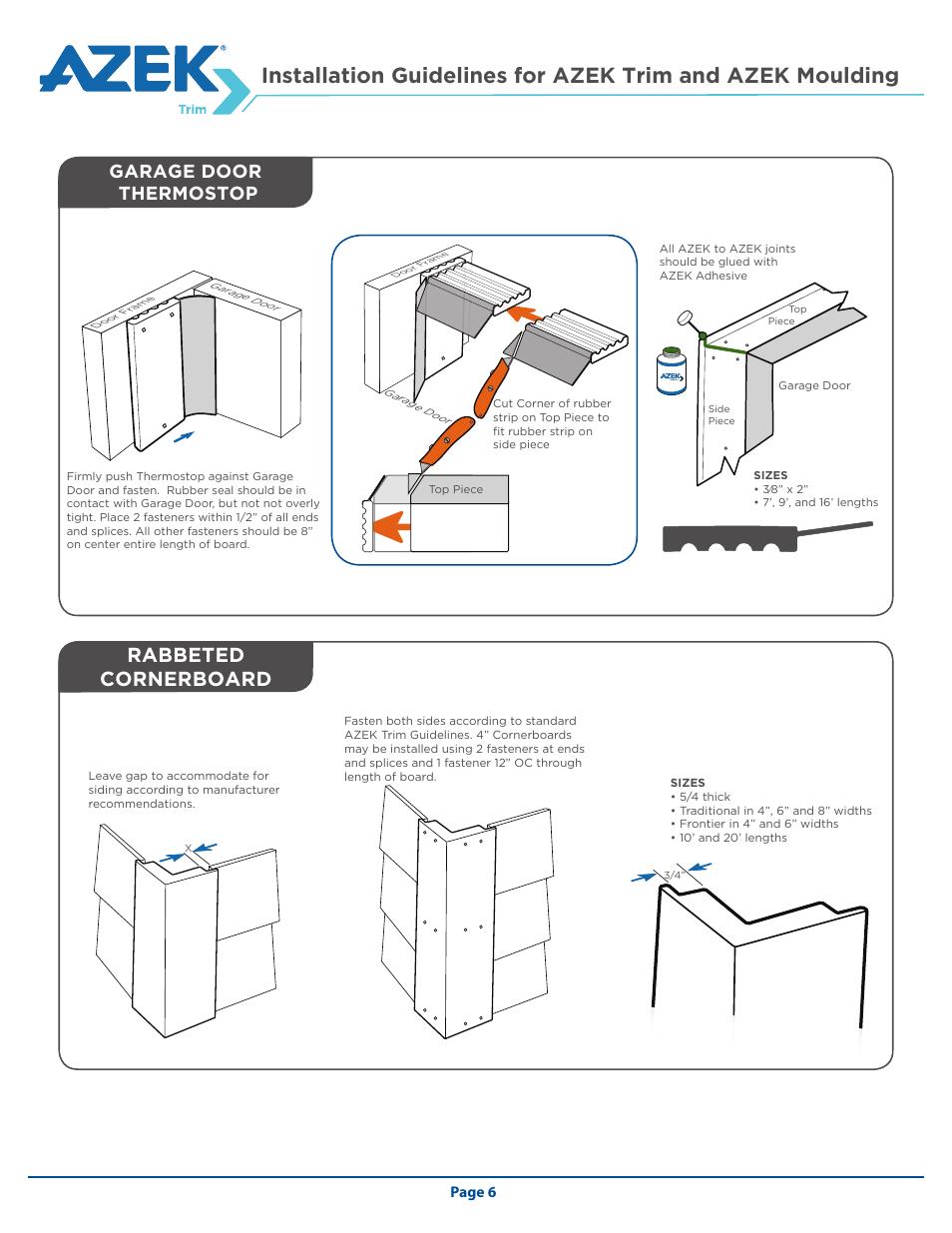 Rabbeted cornerboard, Garage door thermostop | AZEK Trim