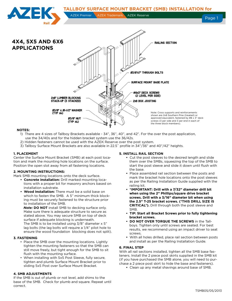 AZEK Tallboy SMB User Manual   1 page