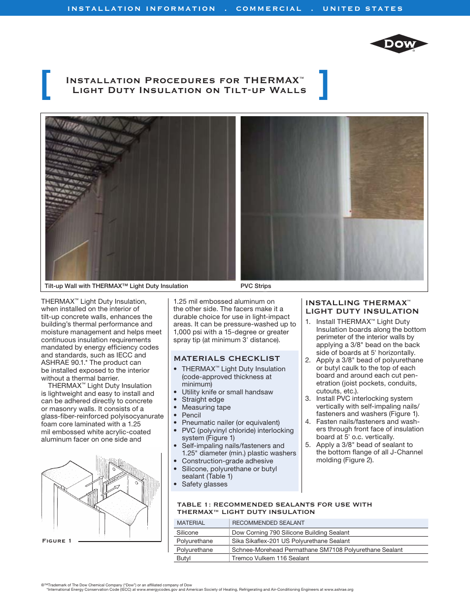 Dow THERMAX Light Duty User Manual | 2 pages