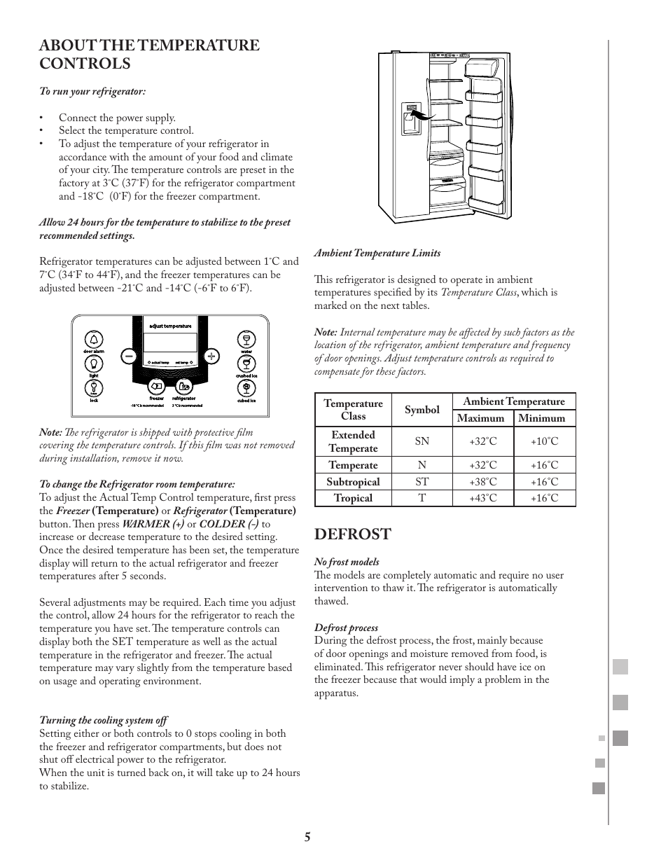 About the temperature controls, Defrost | Fagor FQ8965X User Manual | Page  5 / 122