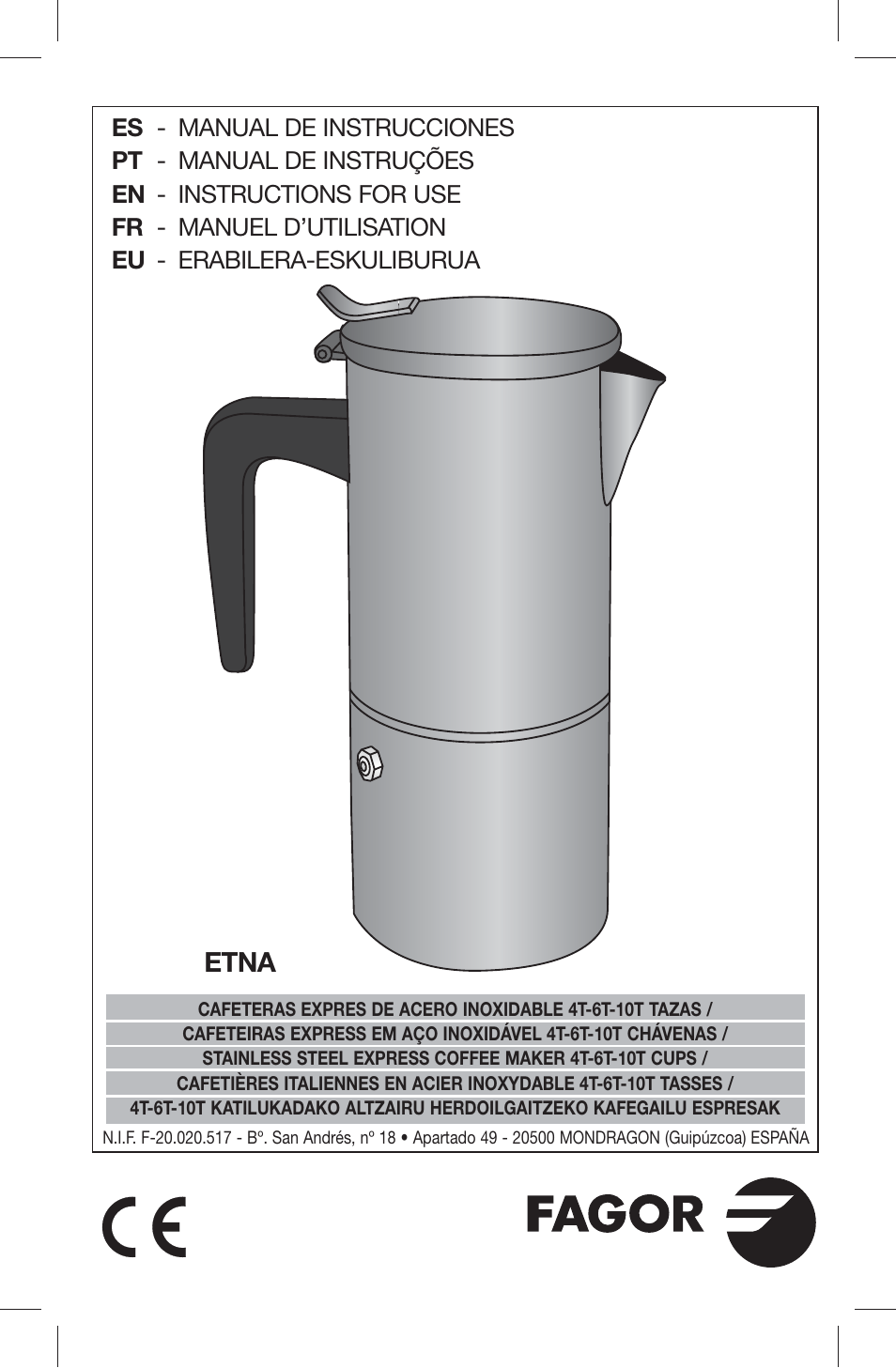 Fagor Etna 10 6 Y 4 Tazas User Manual 8 Pages