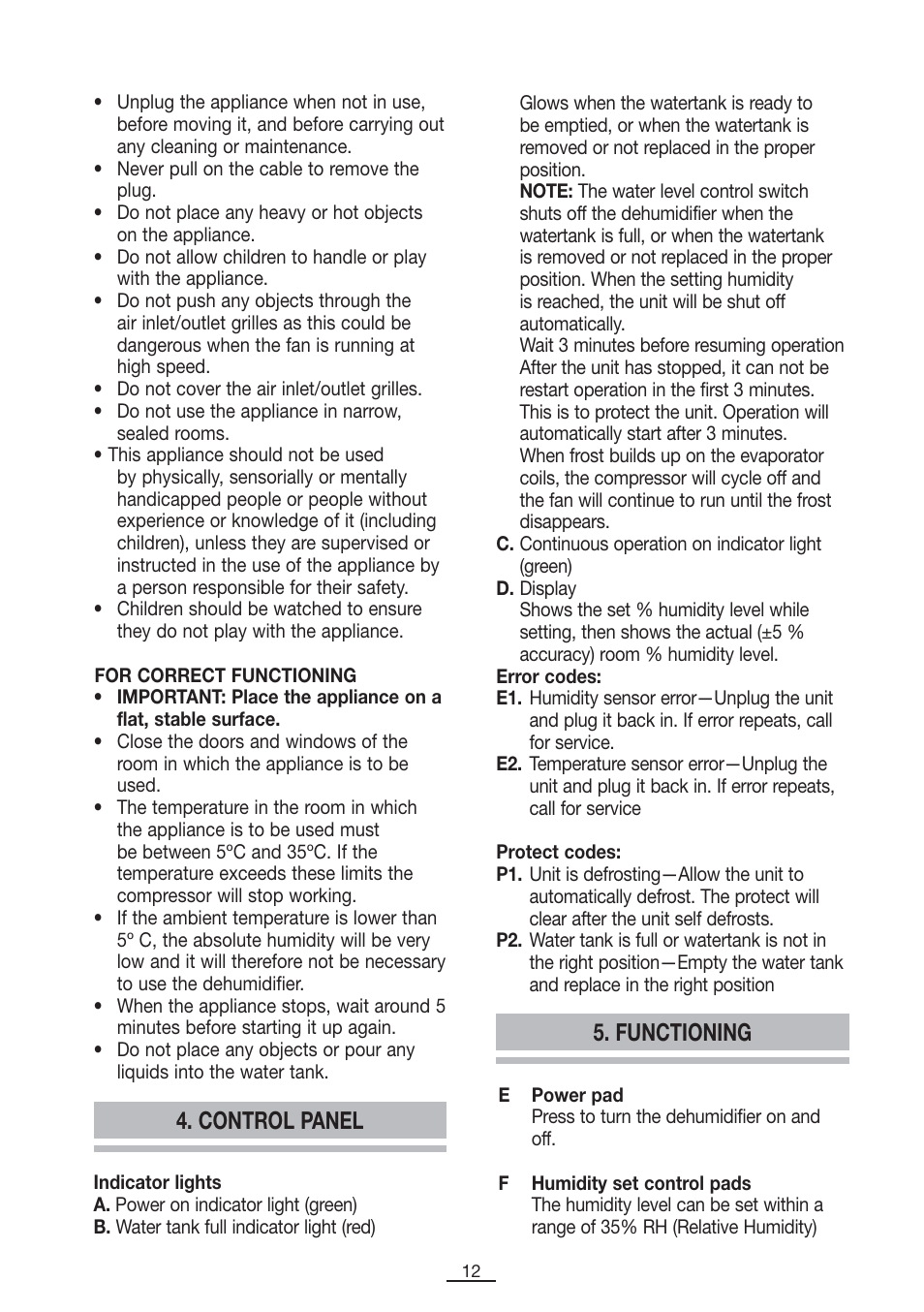Control panel, Functioning | Fagor DH-10D User Manual | Page 13 / 54