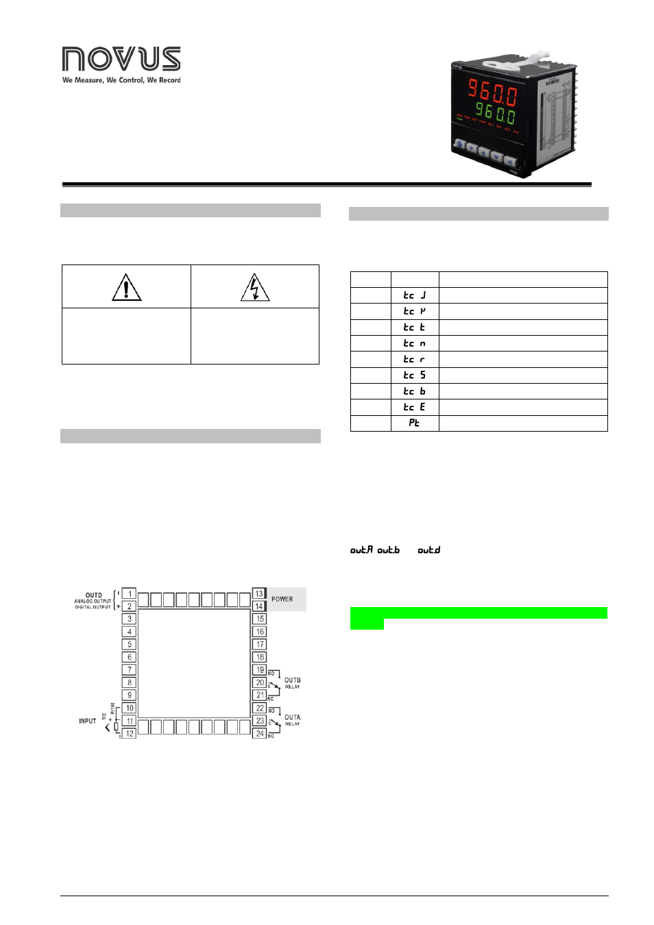 NOVUS Controller N960 User Manual | 6 pages