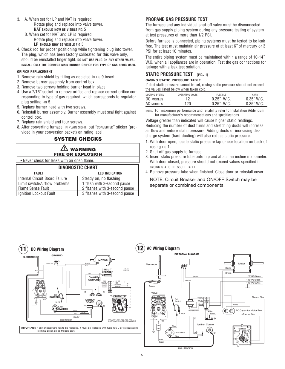 System Checks Warning Diagnostic Chart Atwood Mobile Products Dc To Ac Wiring Diagram Propane Gas Pressure Test Static