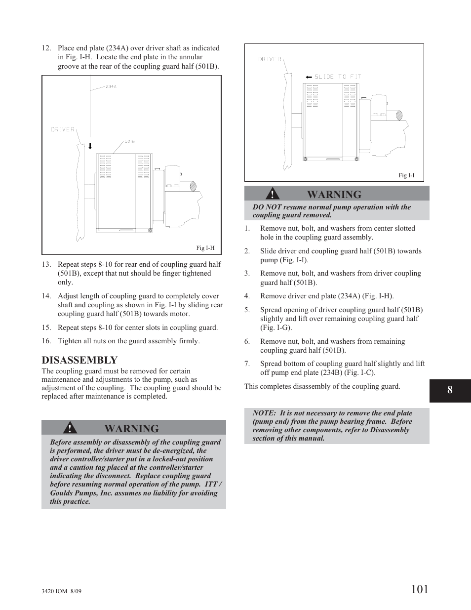 Disassembly, Warning | Goulds Pumps 3420 - IOM User Manual | Page