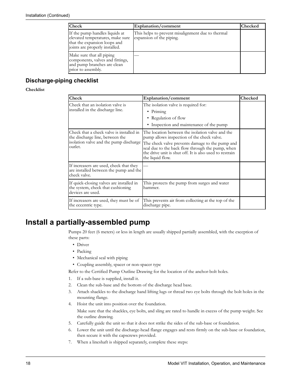 Discharge-piping checklist, Install a partially-assembled