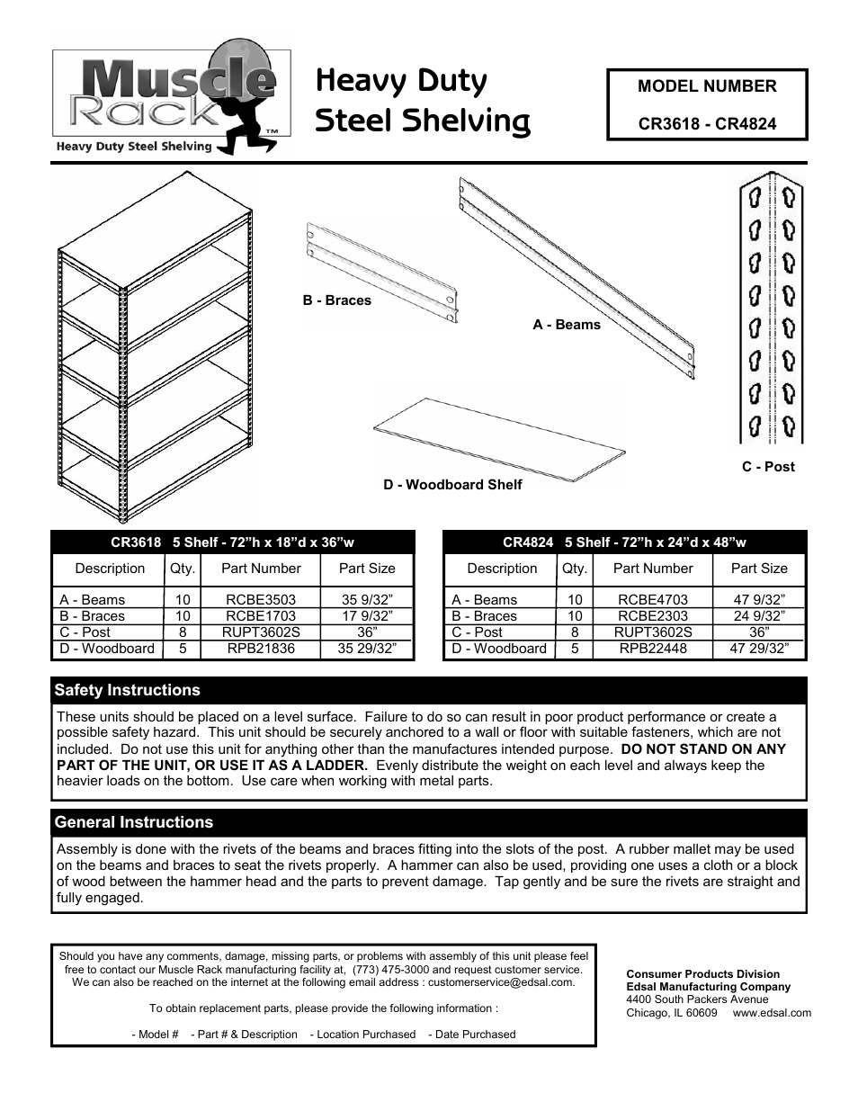 Edsal Cr3618 User Manual 2 Pages Also For Cr4824