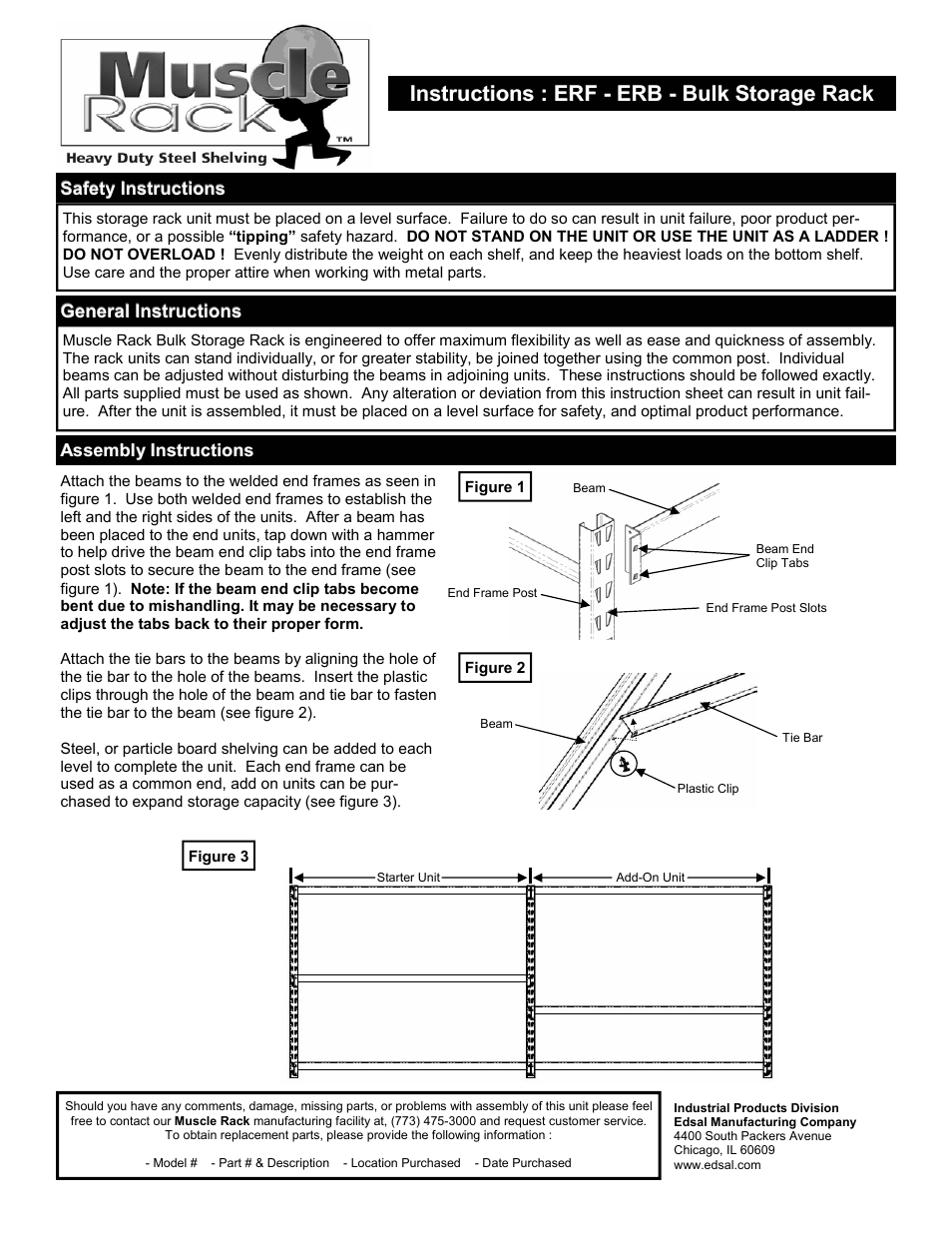Edsal Erb User Manual 1 Page Also For Erf