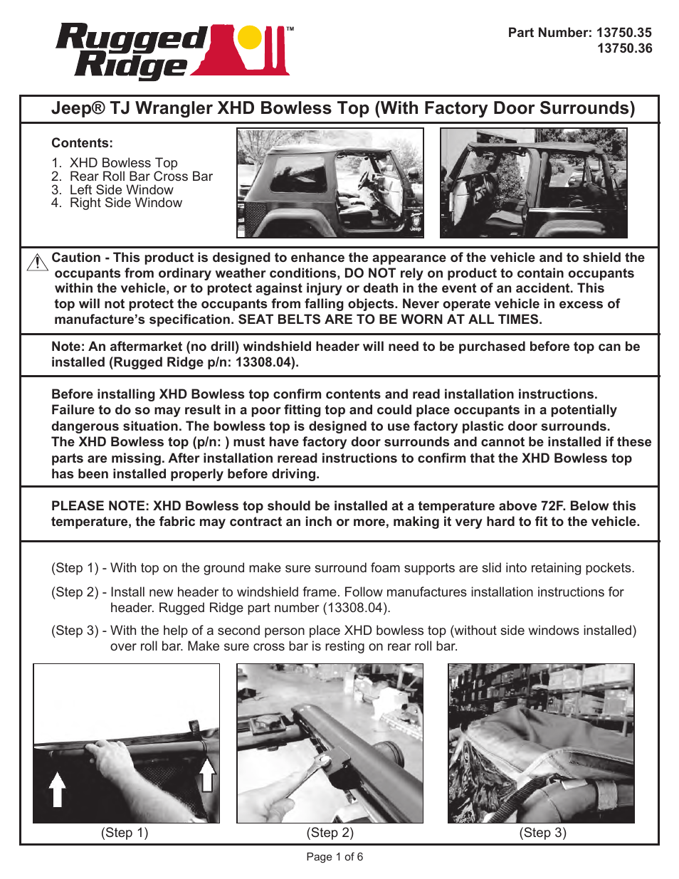 Rugged Ridge Bowless Xhd Soft Top Spice 97 06 Jeep Wrangler Tj Install Jk User Manual 6 Pages