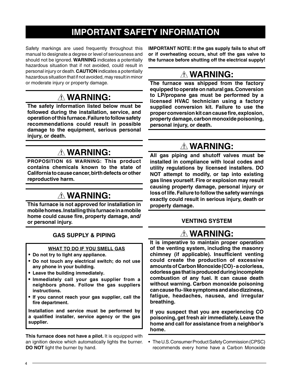 Warning, Important safety information   Comfort-Aire GDD95A