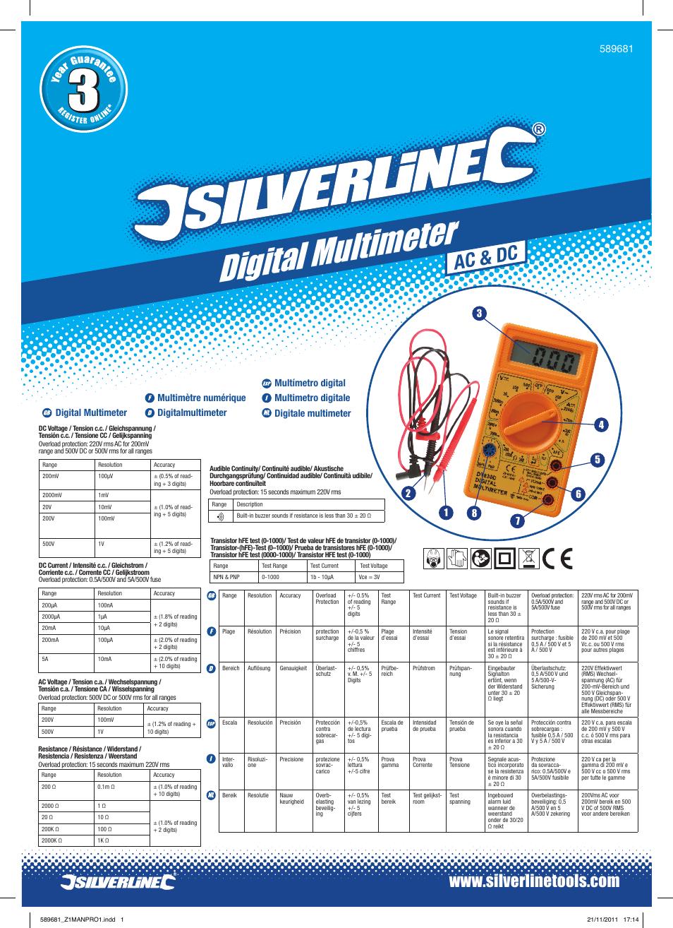 Silverline 589681 Multim/ètre num/érique