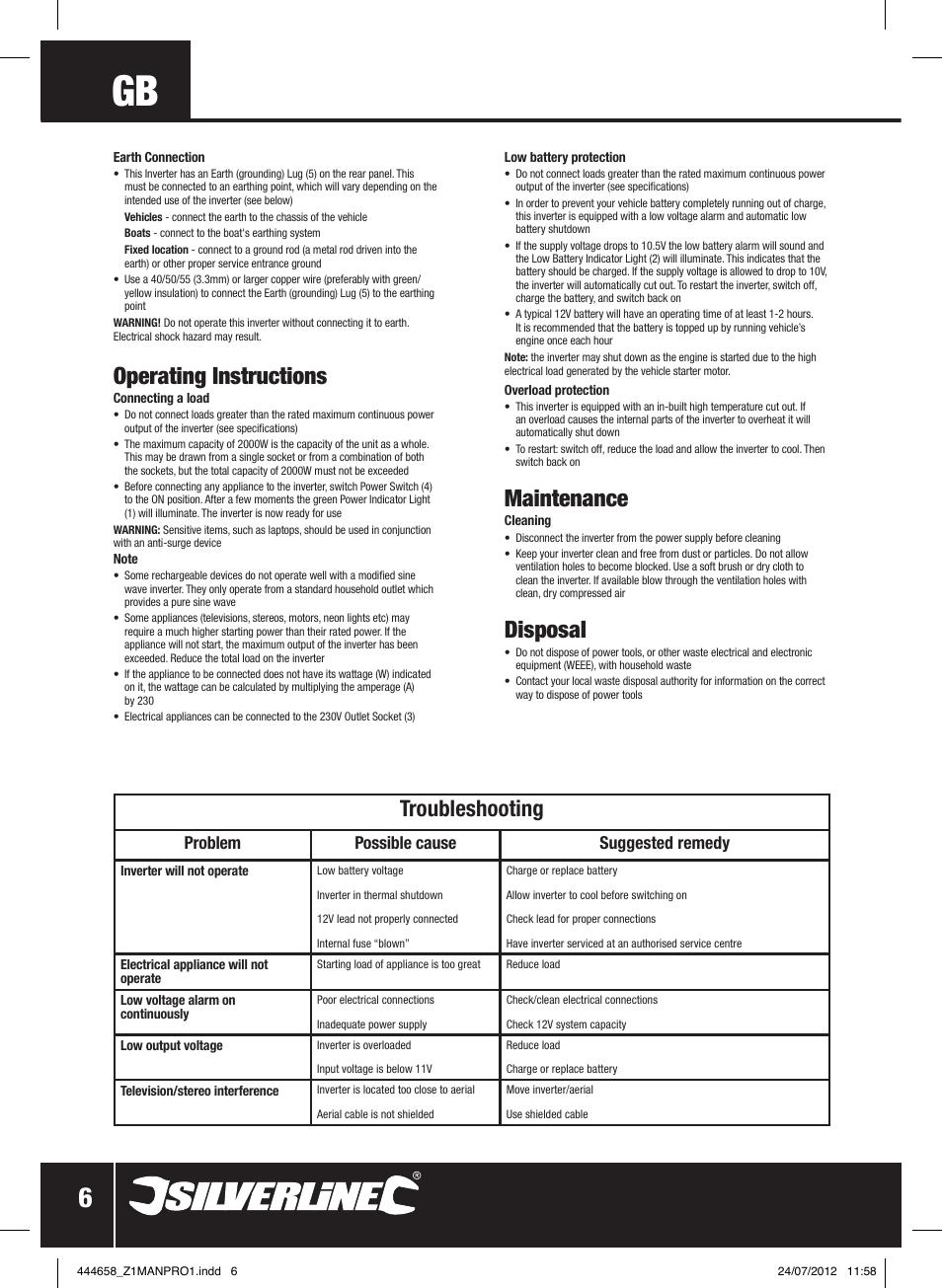 operating instructions maintenance disposal silverline inverter rh manualsdir com User Training User Training