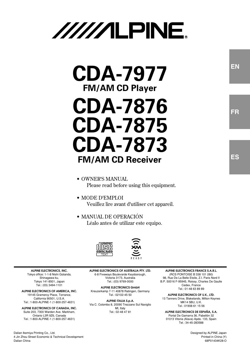 alpine cda 7875 user manual 36 pages also for cda 7873 cda 7977 rh manualsdir com Alpine CDA 7893 Wiring-Diagram Alpine CDA- 7863