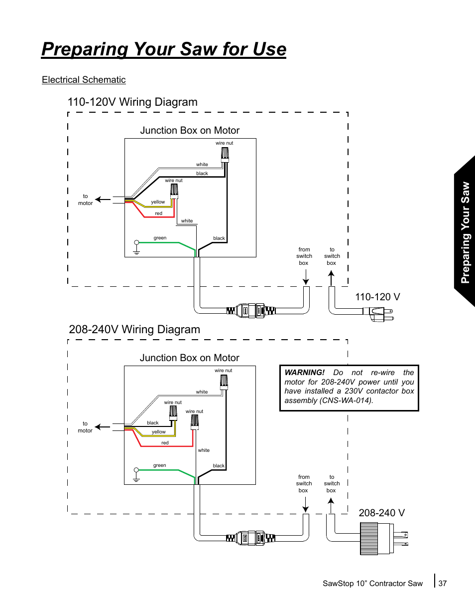 Sawstop Wiring Diagram Opinions About 3 Way Switch 110 Volt Preparing Your Saw For Use 120 V Rh Manualsdir Com