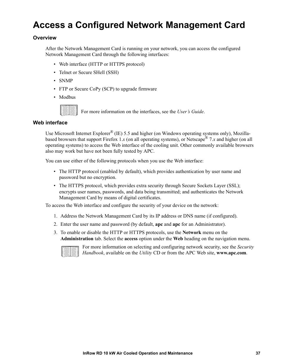 Access a configured network management card, Overview, Web