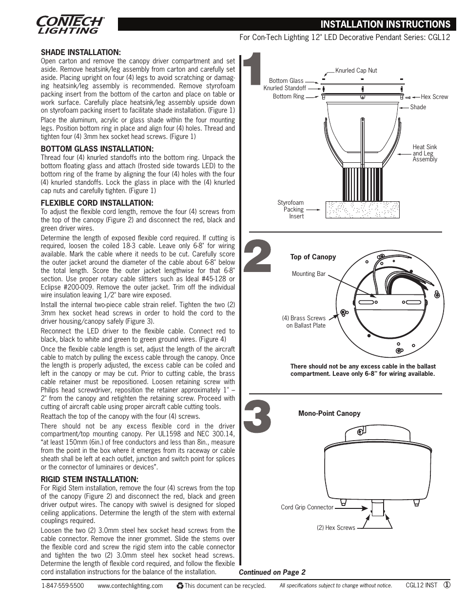 ConTech Lighting CGL12 User Manual | 2 Pages