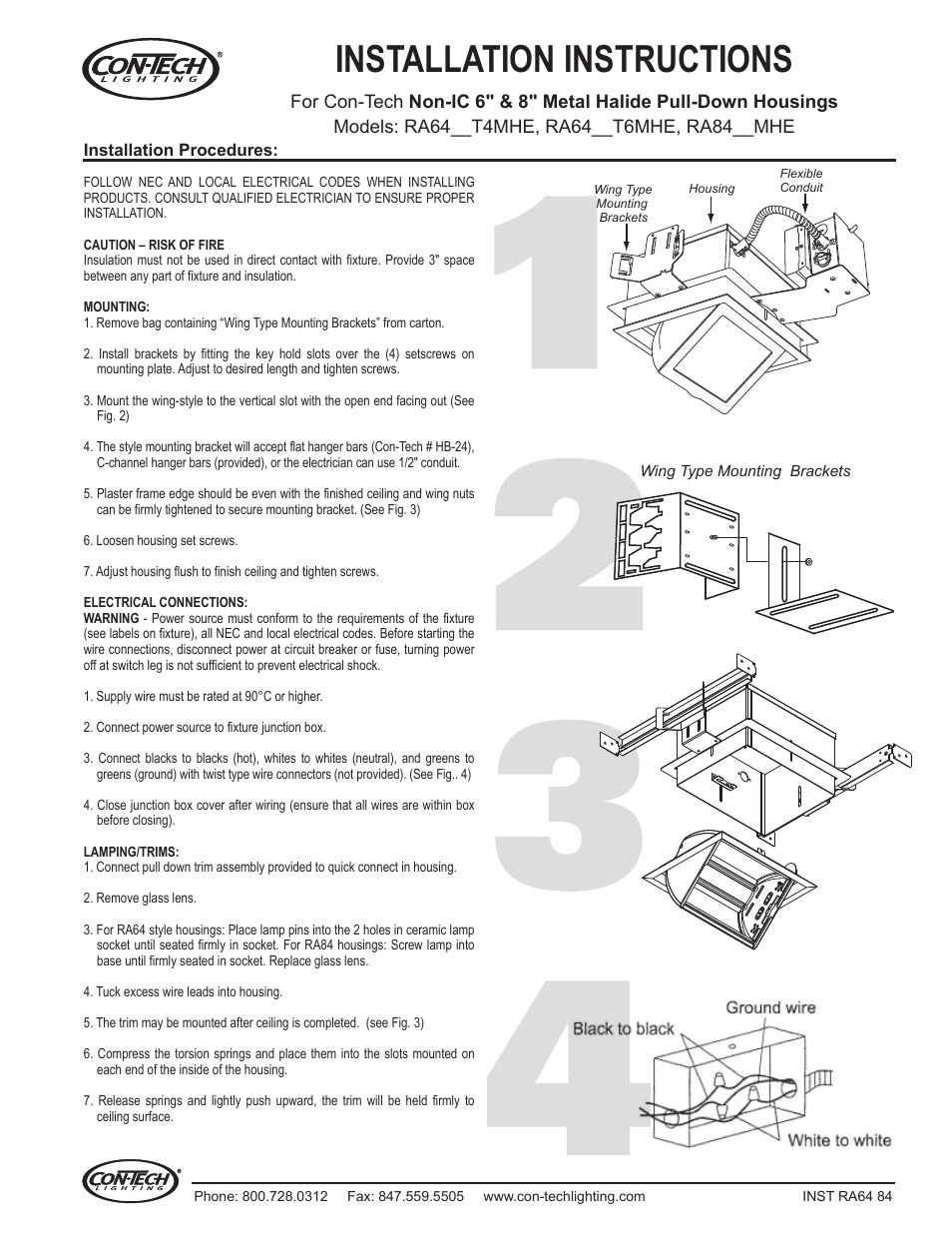 Contech Lighting Ra6420 39 70t6mhe User Manual 1 Page Also For Porcelain Light Fixture Socket Wiring Diagram 70t4mhe
