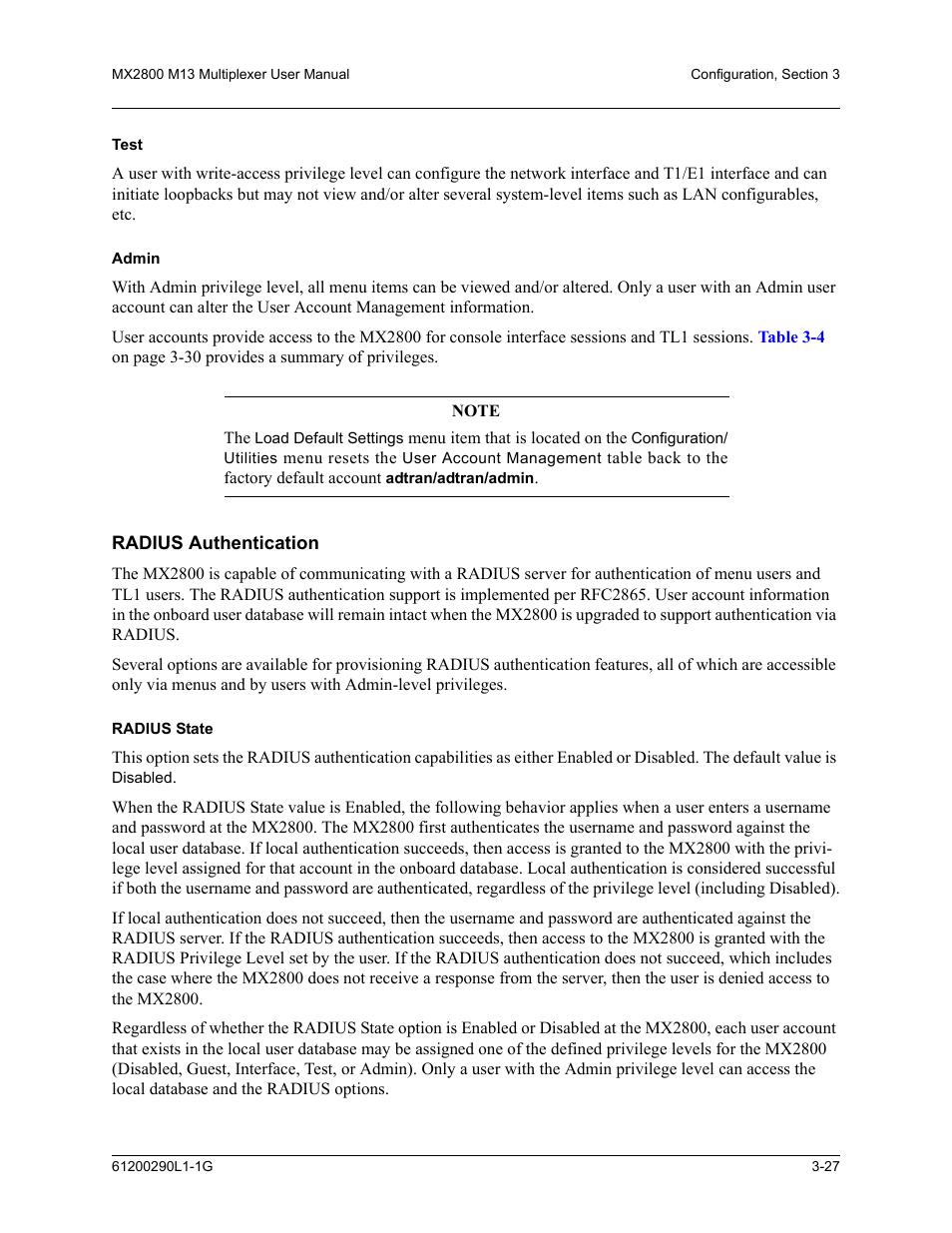 Test, Admin, Radius authentication | Radius state, Test -27 admin -27