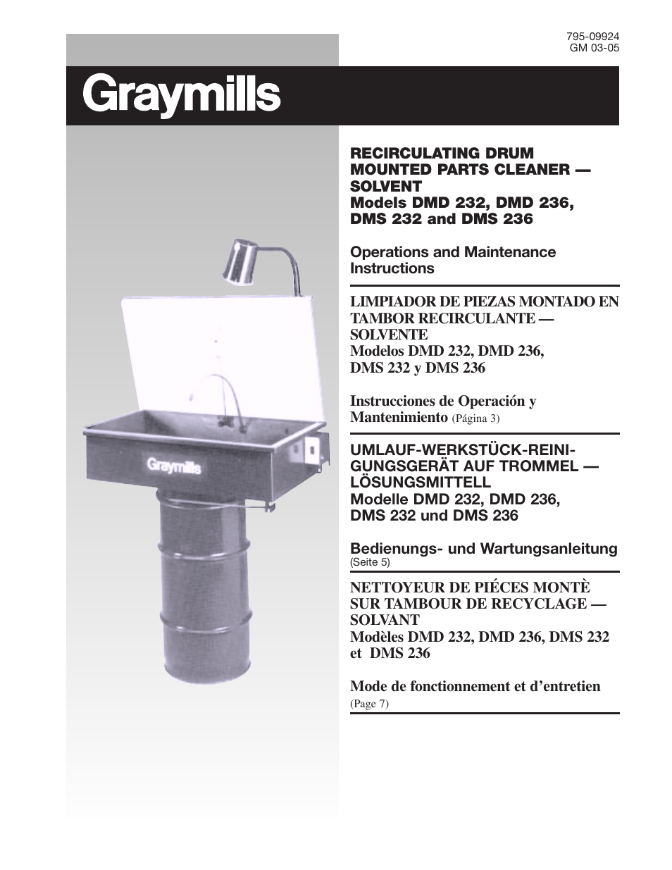 Graymills DM 236 Drum Mount OMI User Manual | 12 pages | Also for