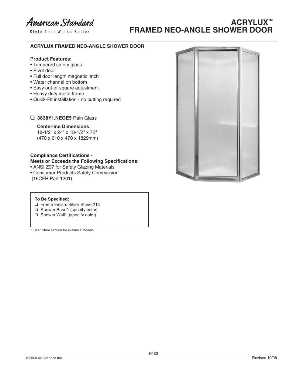 American Standard Acrylux Framed Neo Angle Shower Door