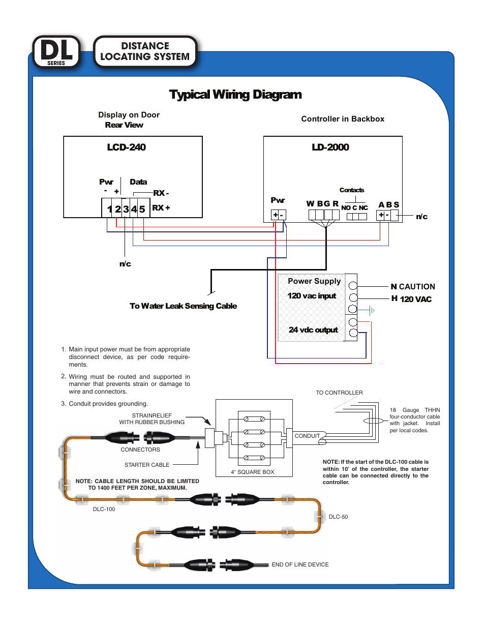 Typical Wiring Diagram  Locating System Distance