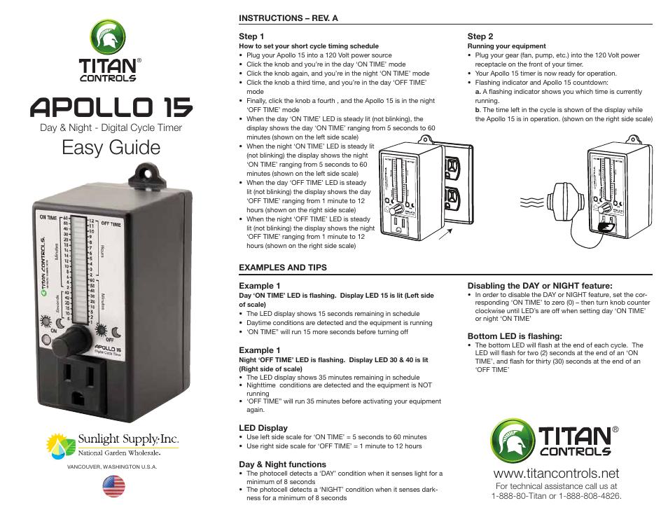 Sunlight Supply Titan Controls® Apollo® 15 - Day/Night Digital Cycle