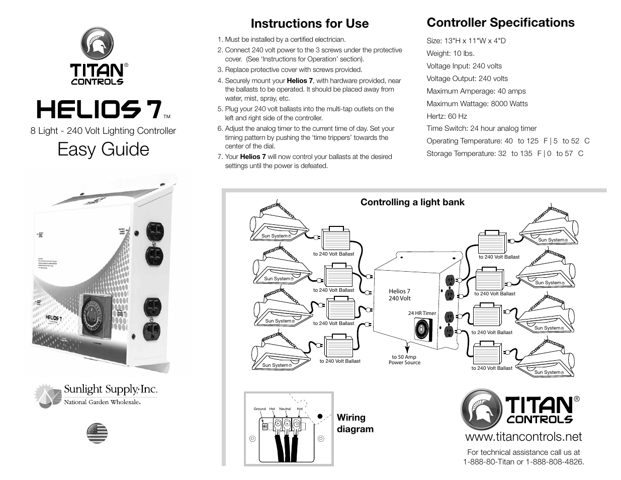 Sunlight Supply Titan Controls Helios 7 8 Light 240v Controller Ballast Wiring Diagram With Timer User Manual 2 Pages