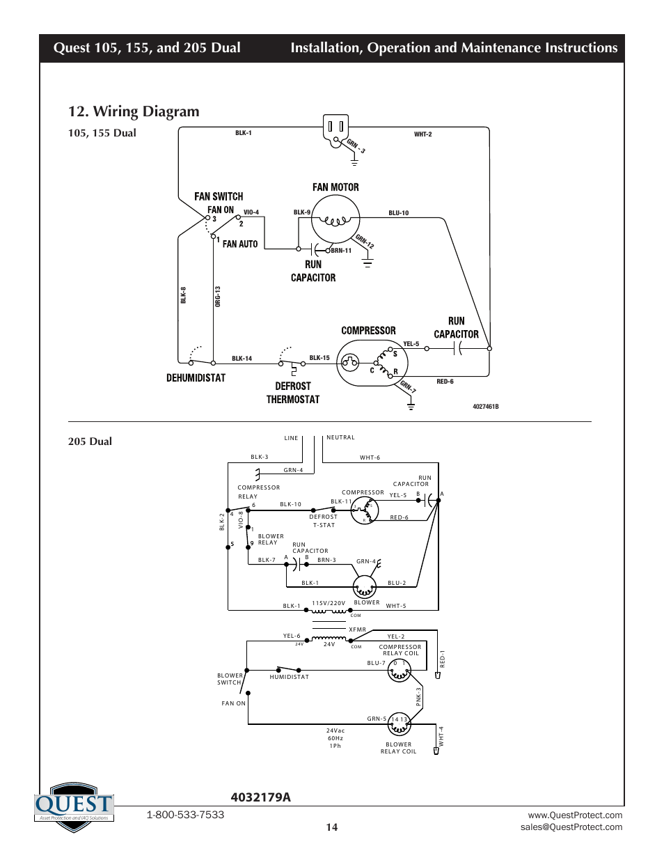 Quest, Wiring diagram | Sunlight Supply Quest Dual 155 Overhead Dehumidifier  User Manual | Page 14 / 15