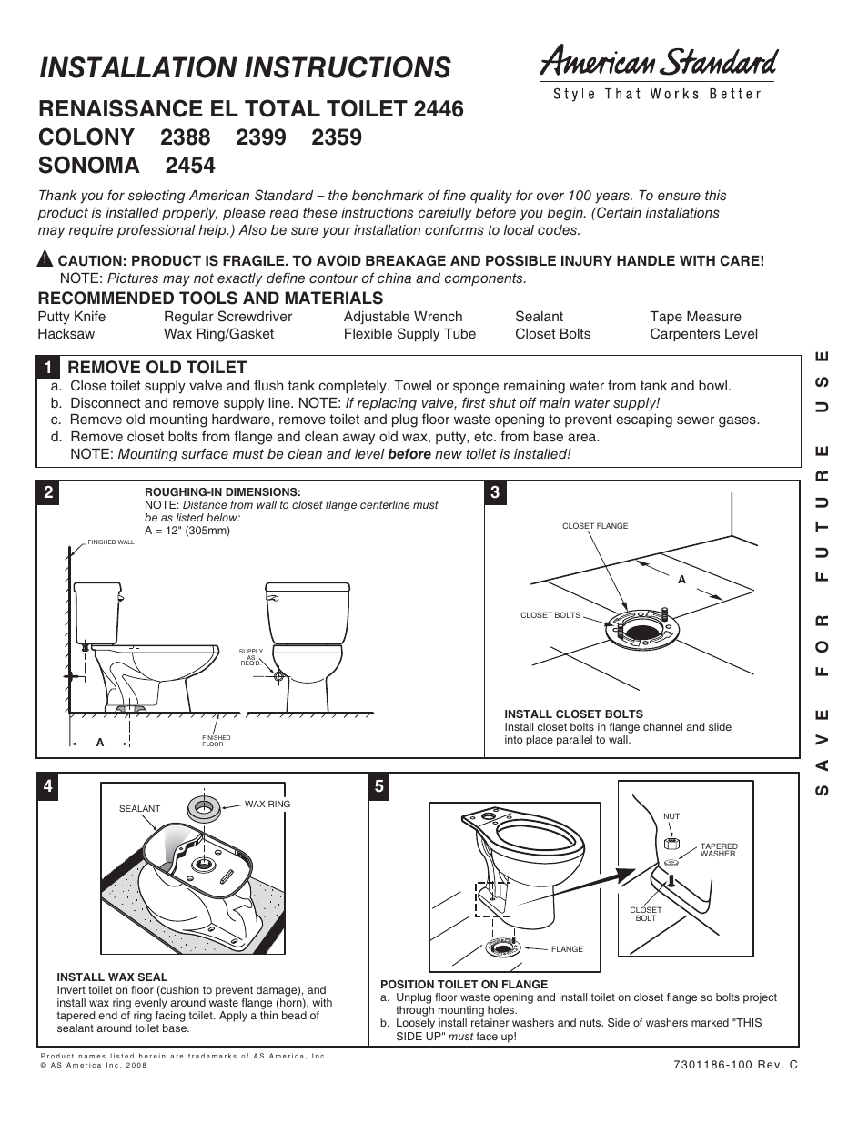 American Standard 2446 User Manual 5 Pages