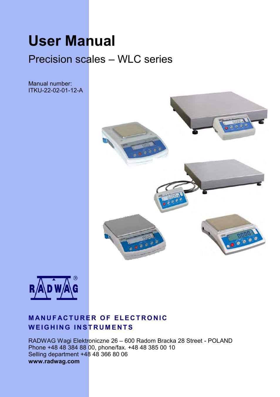 Radwag Wlc 0 6  A1  C  2 Precision Balance User Manual