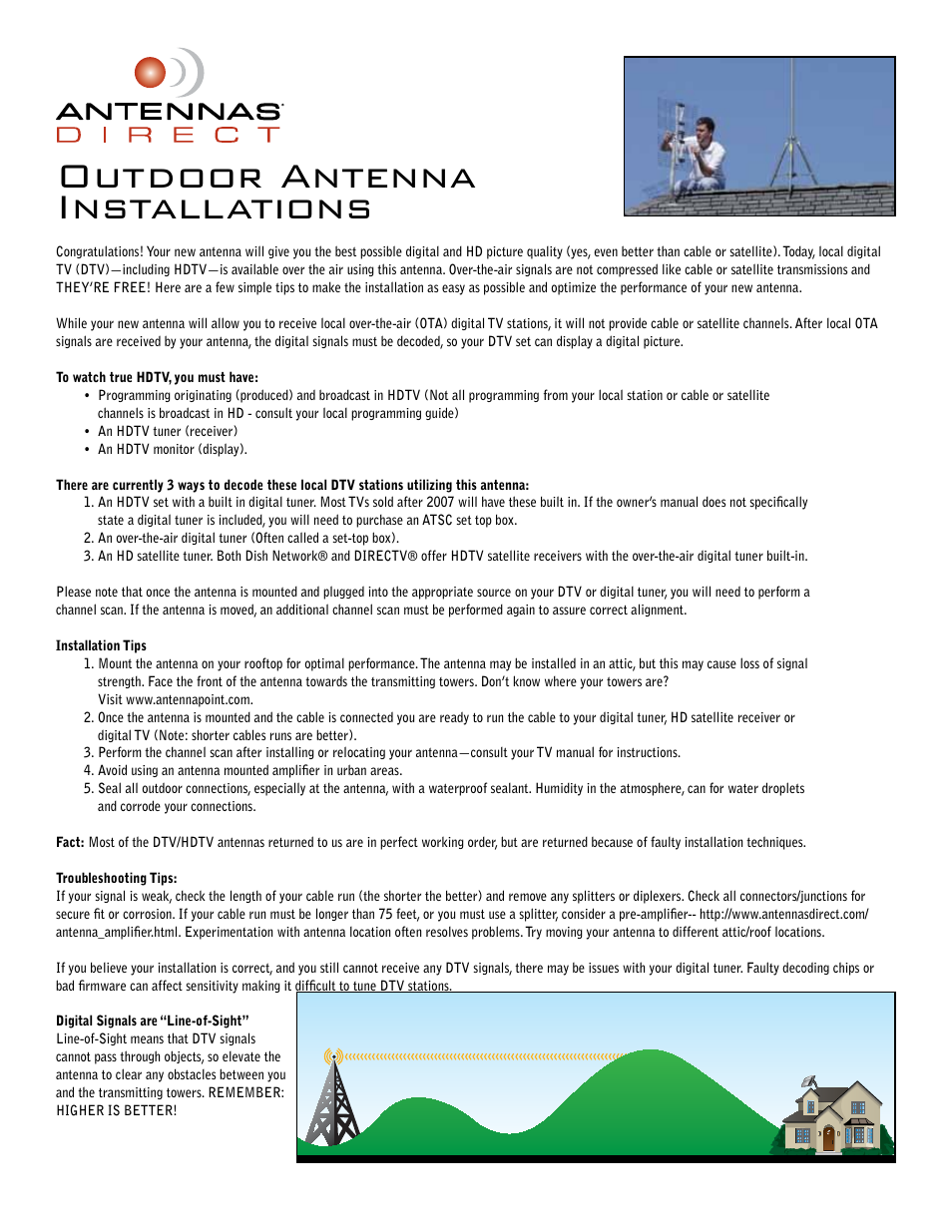 Antennas Direct ClearStream 2 Indoor/Outdoor DTV Installation Instructions  User Manual | 2 pages