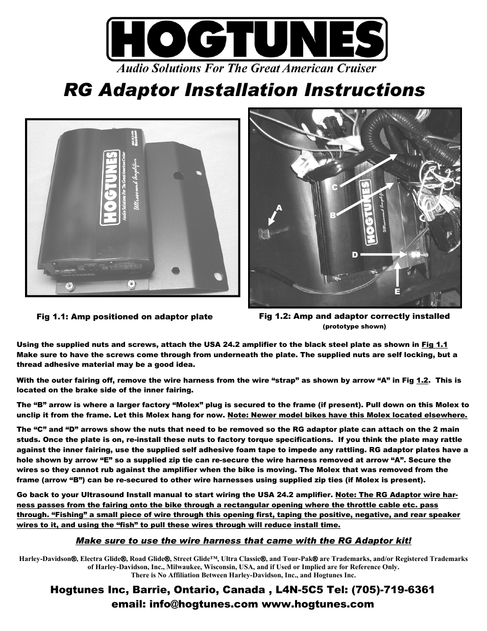 Hogtunes 2 Channel Roadglide Amplifier Adaptor Plate User Manual 1 Wiring Kit Canada Page