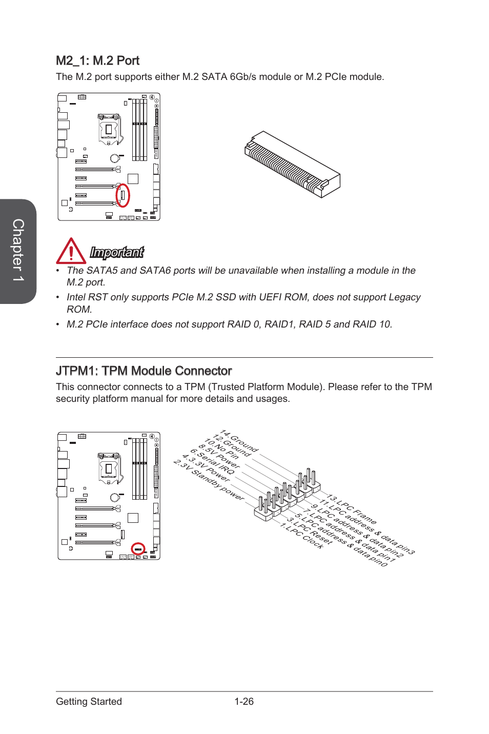 M2 1 Port 26 Jtpm1 Tpm Module Connector Msi Motherboard Diagram Z97 Gaming 9 Ac Manual User Page 40 112