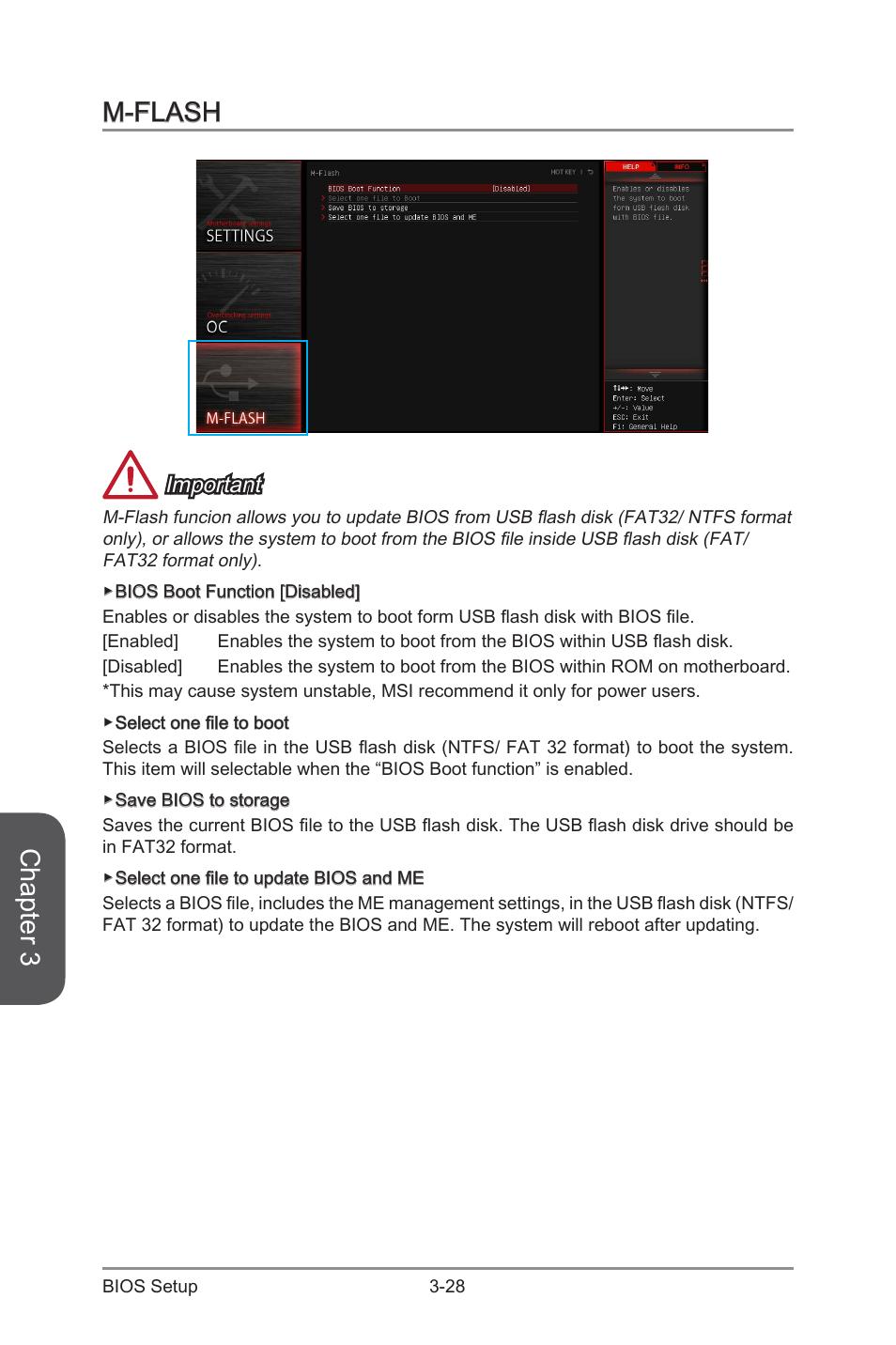 M-flash -28, Chapter 3, M-flash | MSI H97 GAMING 3 Manual User