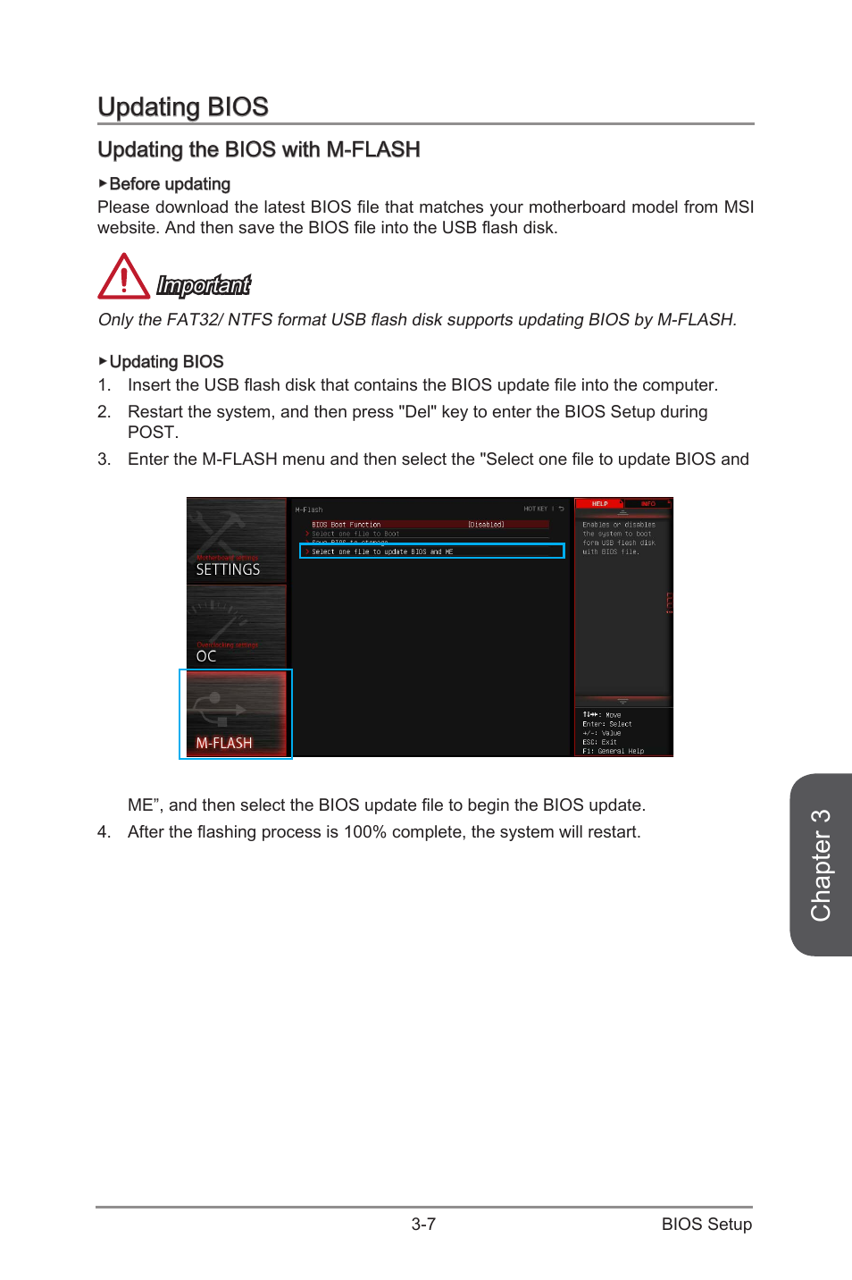 Updating bios -7, Updating the bios with m-flash -7, Chapter 3 | MSI