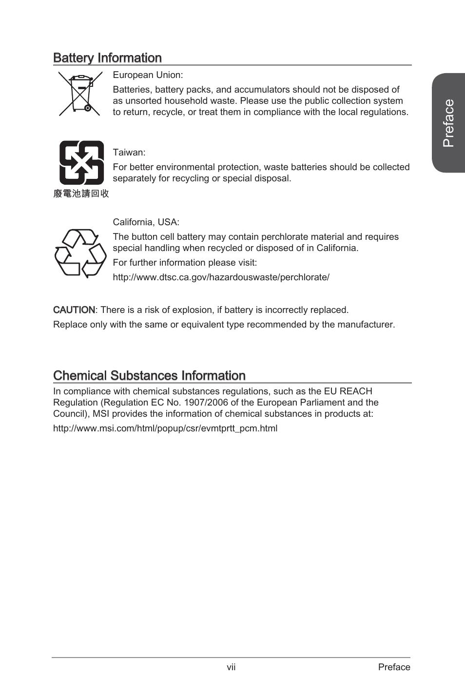 Preface | MSI Z97I GAMING AC User Manual | Page 7 / 104