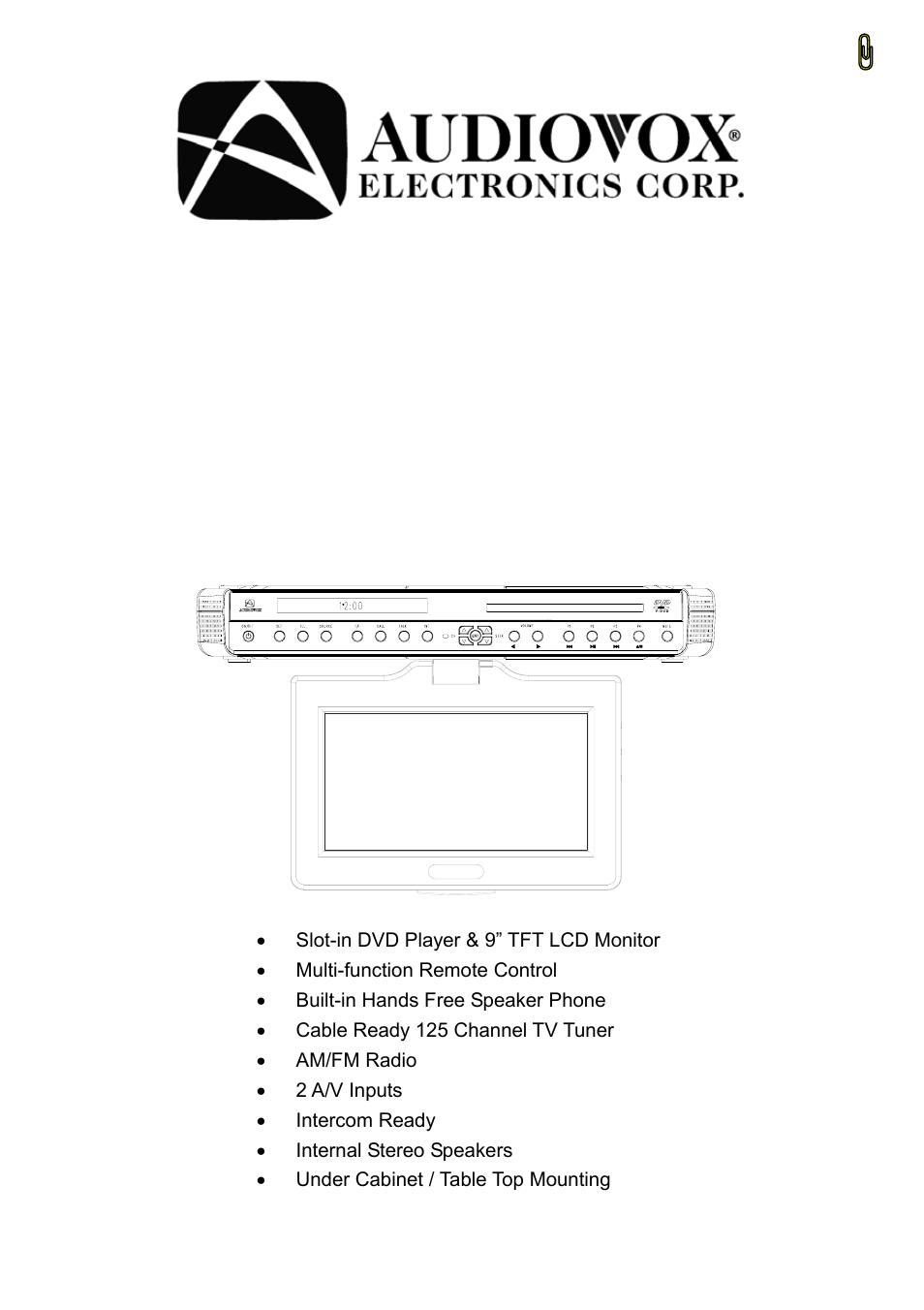 audiovox ve926 user manual 33 pages rh manualsdir com Kitchen Under Cabinet for TV Under Cabinet TV Target