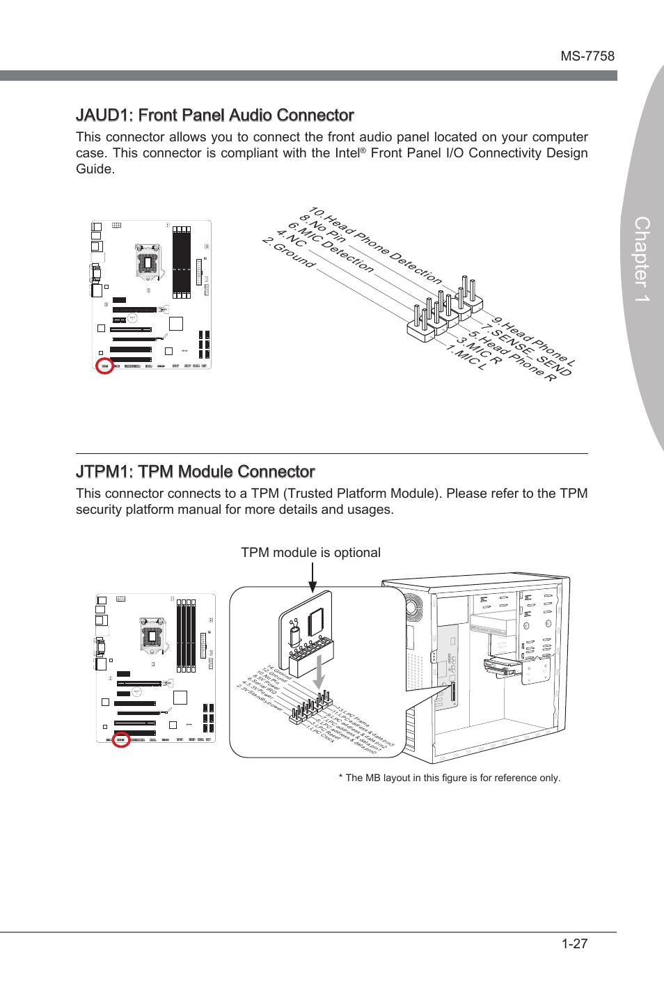 Jaud1: front panel audio connector, Jtpm1: tpm module connector