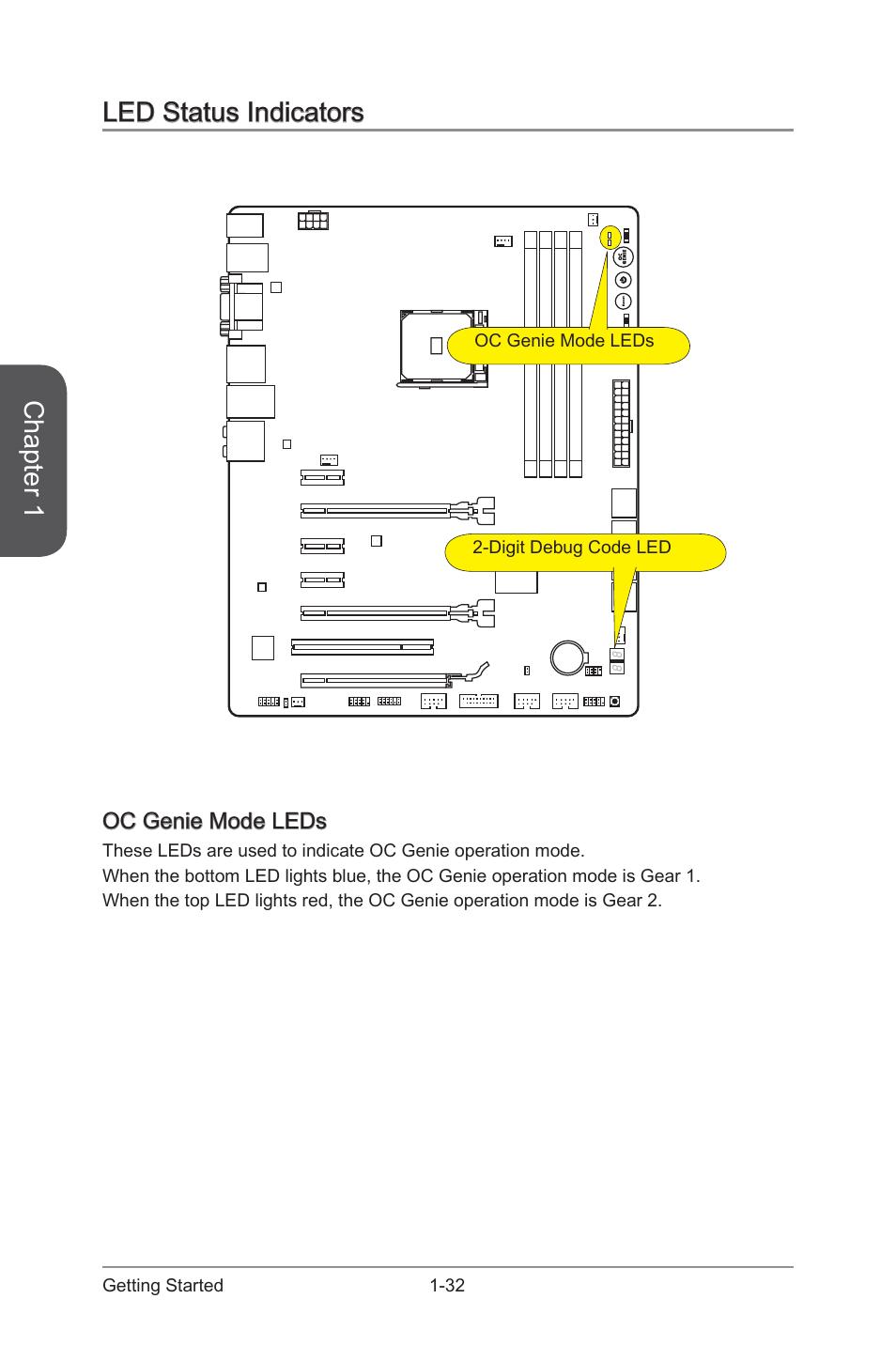 Led status indicators -32, Oc genie mode leds -32, Chapter 1