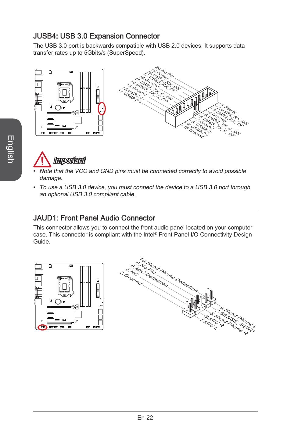 Jaud1, Front panel audio connector, En-22 | MSI B85M-G43 User Manual