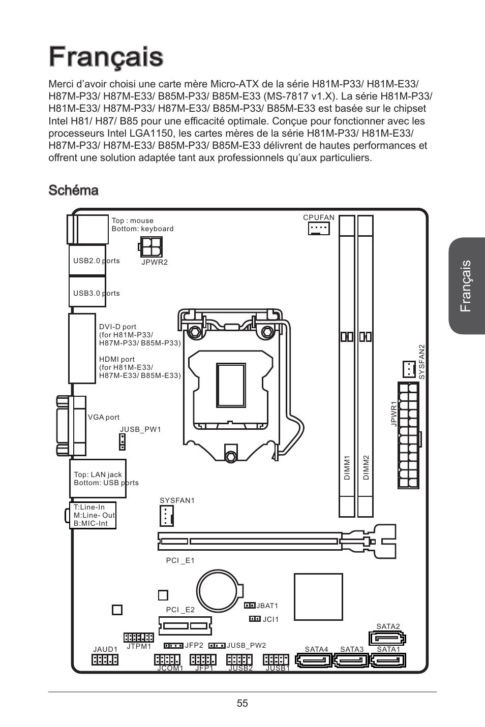 msi b85m p33 page55 fran�ais, sch�ma msi b85m p33 user manual page 55 186  at alyssarenee.co