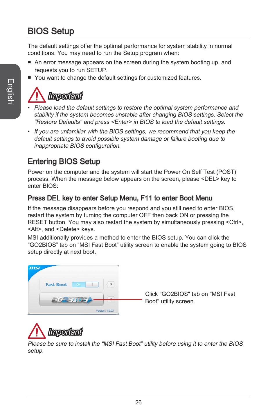 Bios setup, English, Important   MSI H81M-E35 V2 User Manual