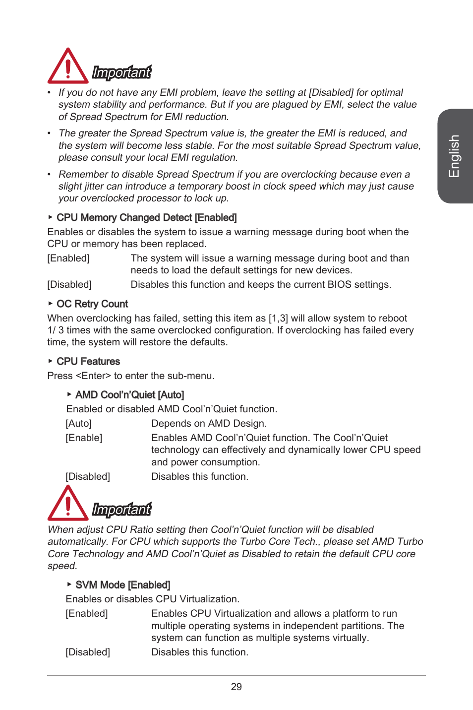 English, Important | MSI A55M-E33 User Manual | Page 29 / 170