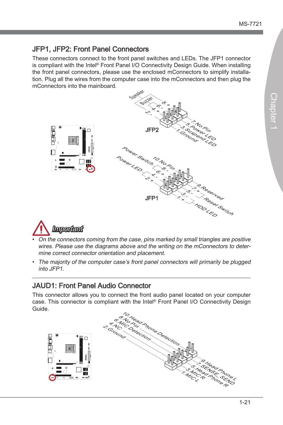 Jaud1: front panel audio connector, Jfp1, jfp2: front panel