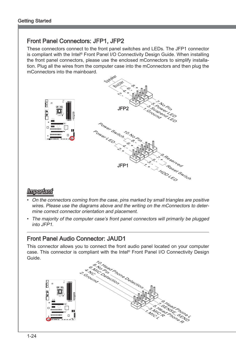 front panel connectors jfp1, jfp2, front panel audio connector Female Audio Jack Wiring front panel connectors jfp1, jfp2, front panel audio connector jaud1, front panel connectors msi z68a g43 (g3) user manual page 34 80